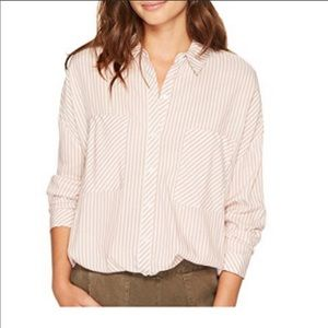 1. State Striped Button Down Split Back Shirt